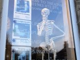 Stan the skelteton in the window of Guiseley Osteopaths